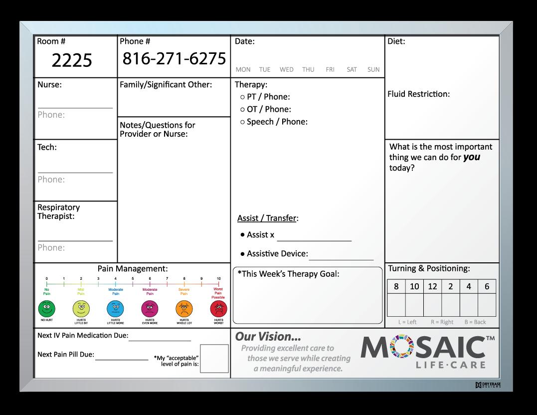 Heartland Health (Mosaic) Patient Info Tracking Whiteboard