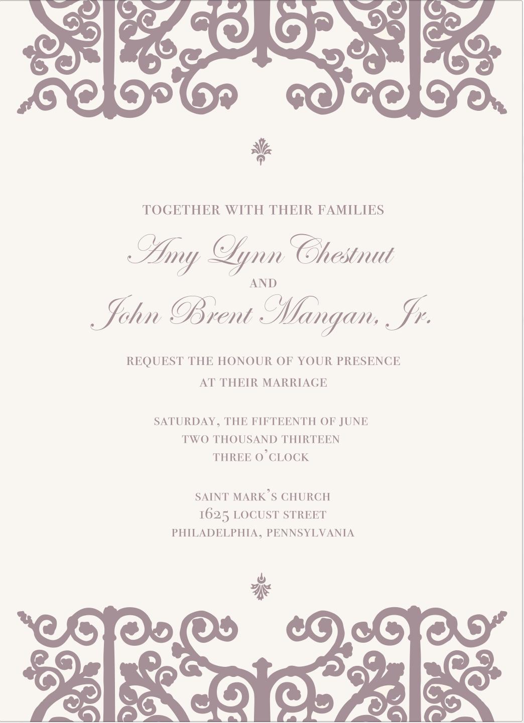 Custom traditional letterpress wedding invitations with purple ink ...