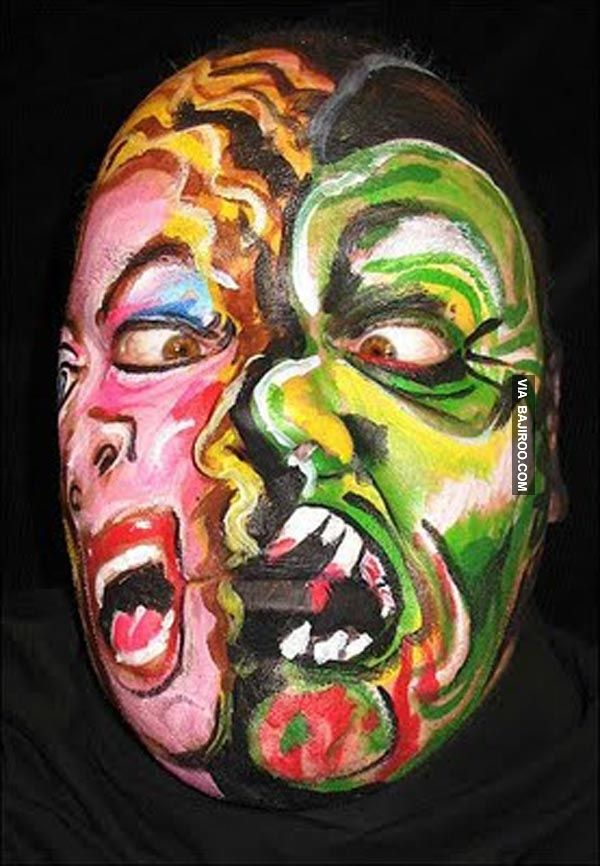 amazing face paint art with double face 26 Most Amazing Face Paints - halloween face paint ideas scary