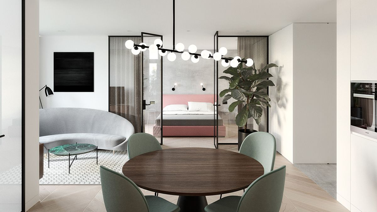 3 Types Of Sleek Studio Apartment Design With Glass Walled  # Foxy Muebles Encastrables