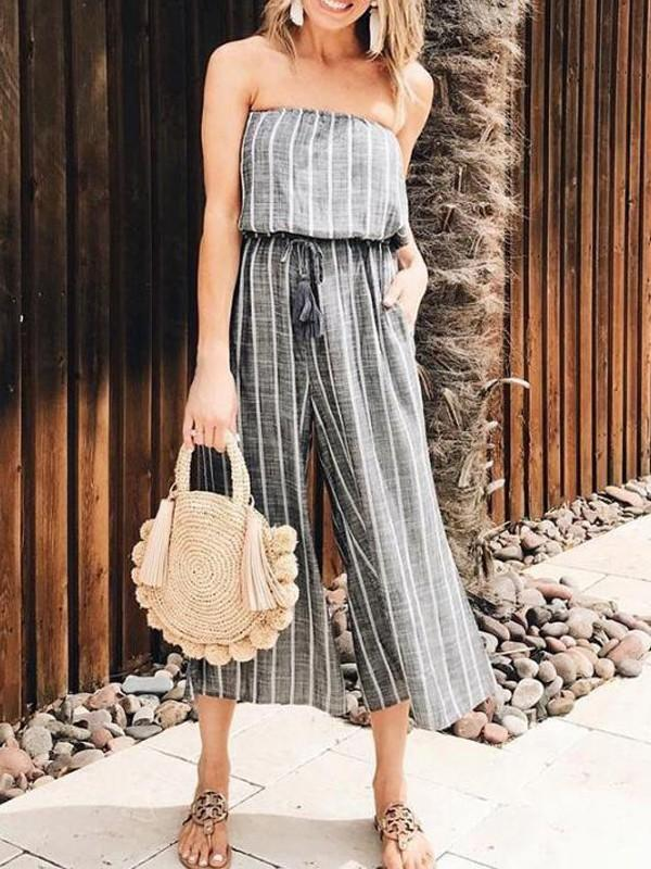 ad5d22a40e79 New Grey-White Striped Pockets Bandeau Off Shoulder High Waisted Casual  Wide Leg Seven s Jumpsuit