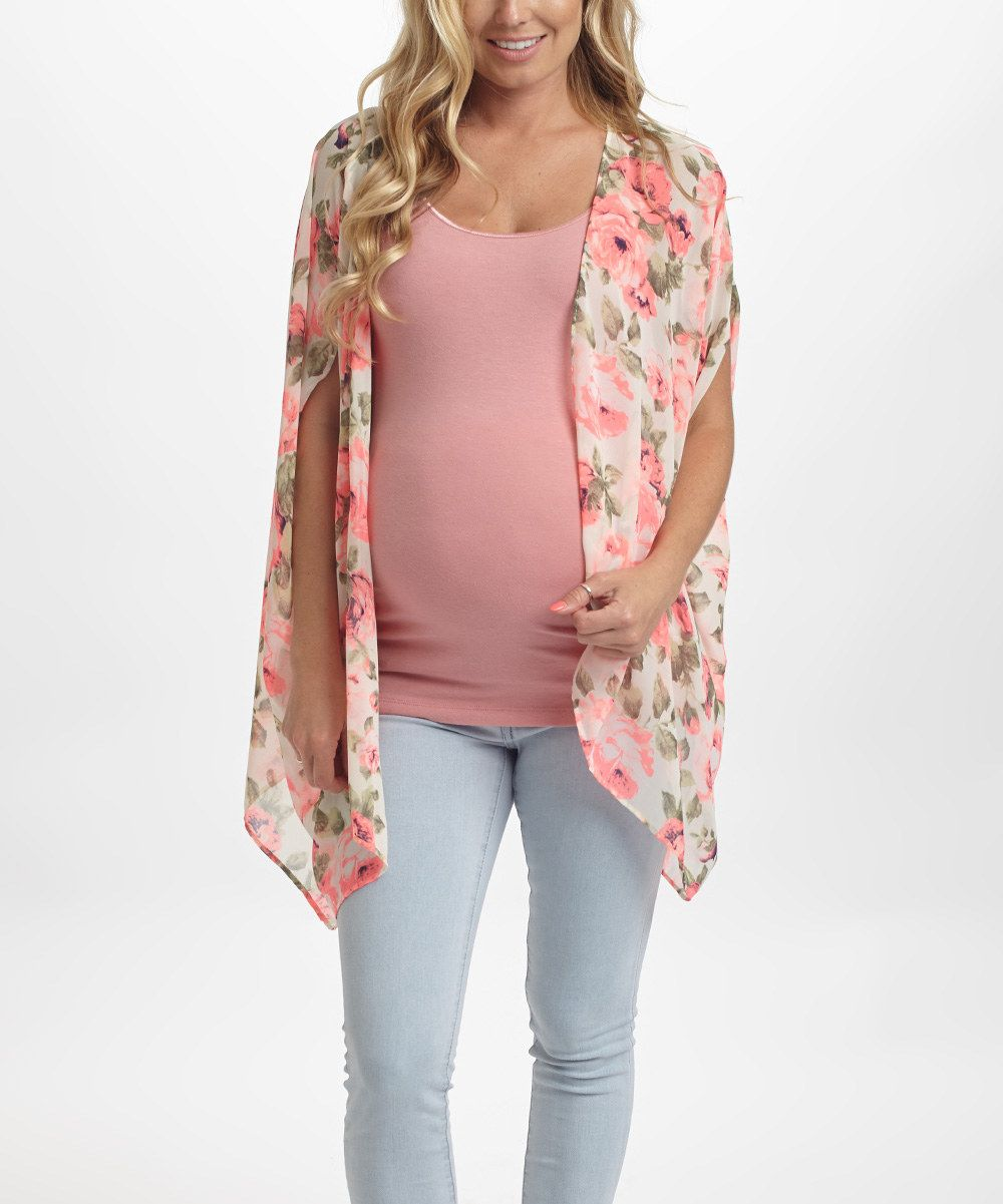 Look at this Ivory & Pink Floral Maternity Open Cardigan on #zulily today!