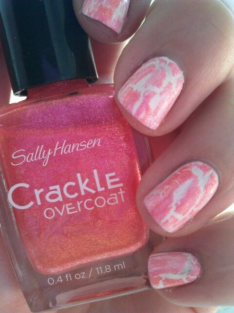 Sally Hansen Crackle Topcoat In Coral Collide Over White Polish