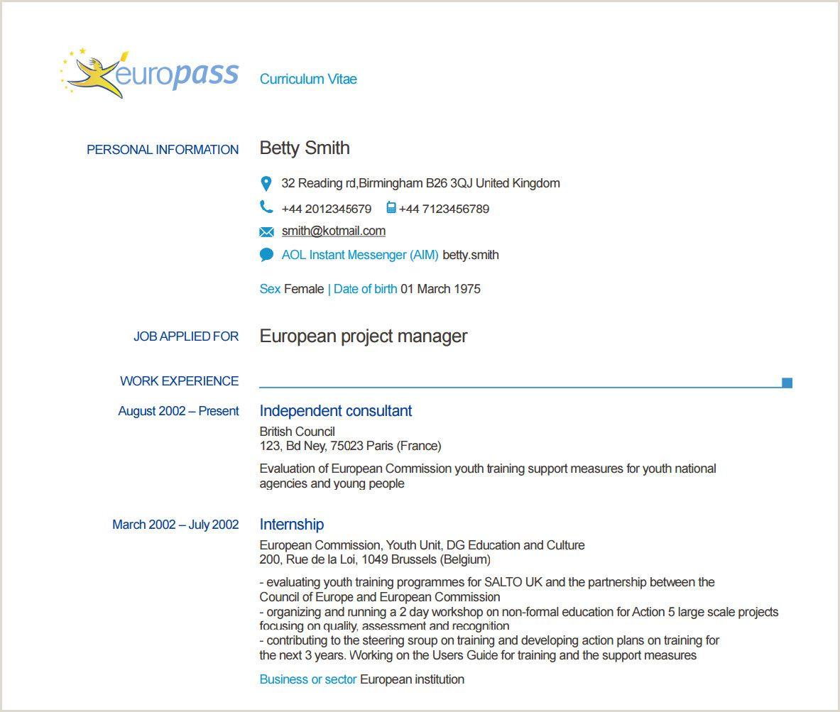 Europass Cv format Example Europass Cv format Example