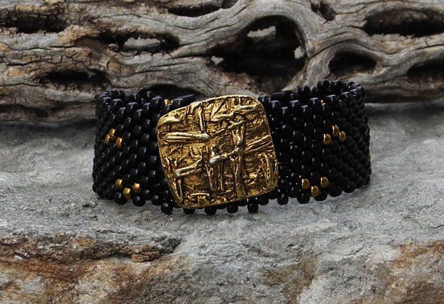 Jewelry - Free Form Peyote Stitch Beaded Bracelet - Bead Weaving - Vintage Button - BOHO by CheriCMeyer on Etsy