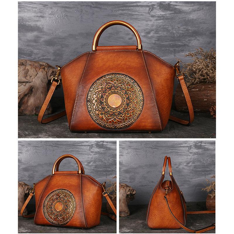 Women Genuine Leather Vintage Totem Designer Handbag Shoulder Bag Leather Leather Handbags