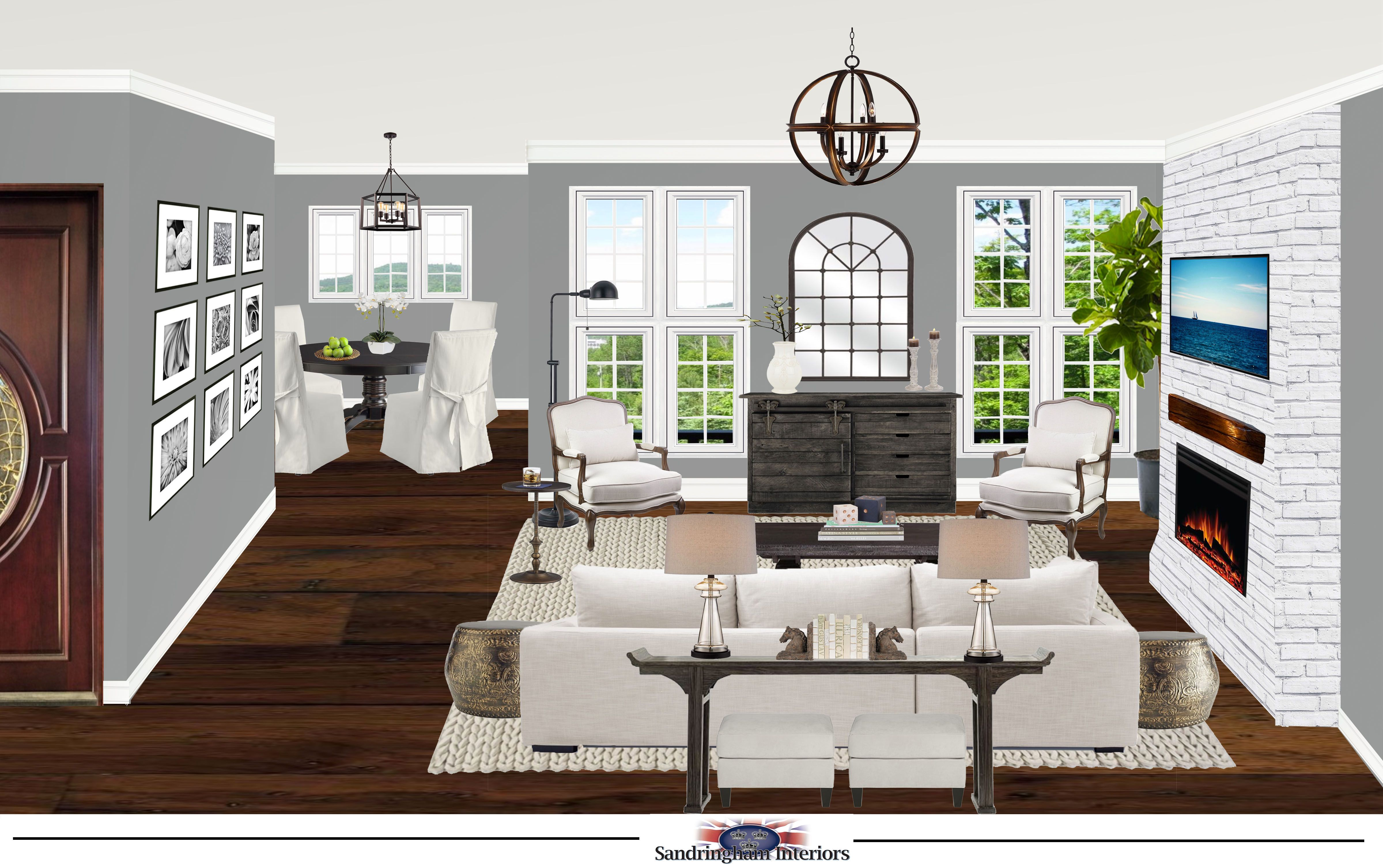 Transitional Living Room Using Neutrals & Grey Edesign