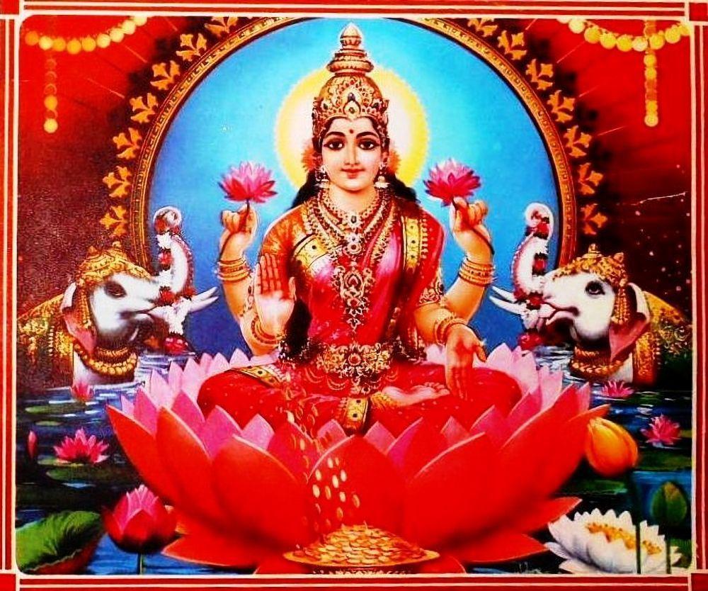 goddess lakshmi religious print over 40 years old via ebay