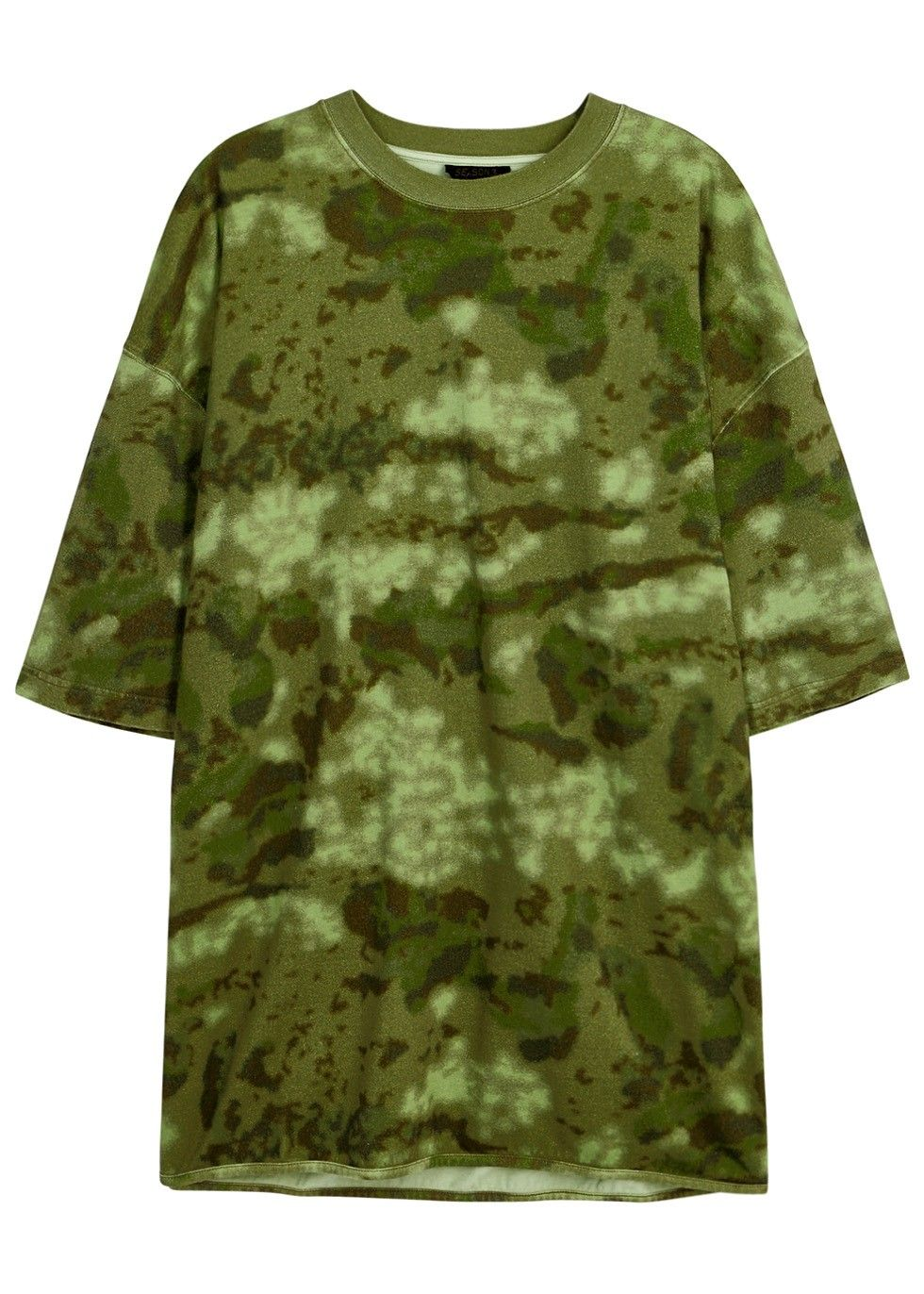 Green dress shirt mens YEEZY SEASON  army green and brown cotton jersey Tshirt Camouflage