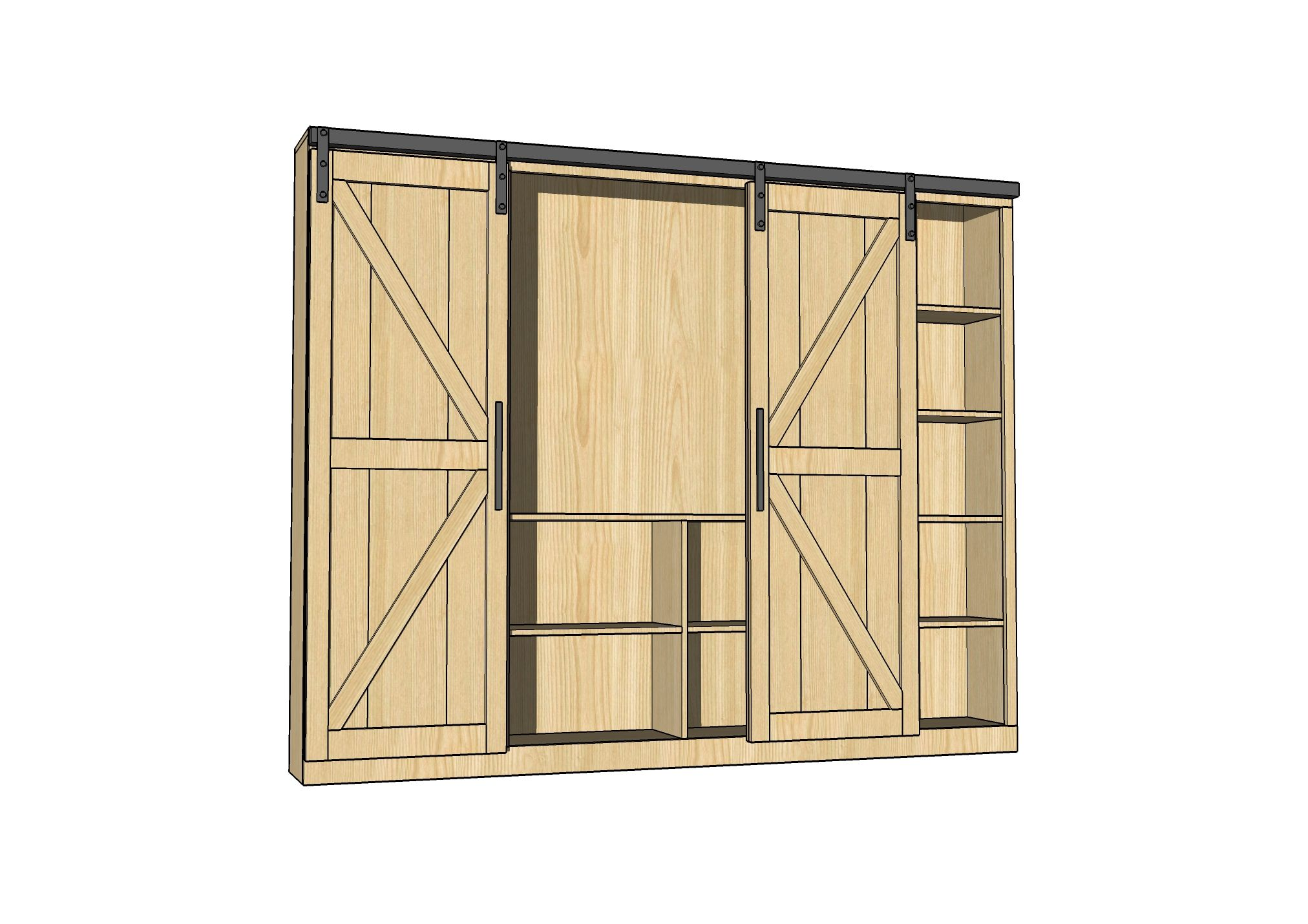Sliding Barn Door Media Wall Suite (Ana White) | Ana white, Barn ...