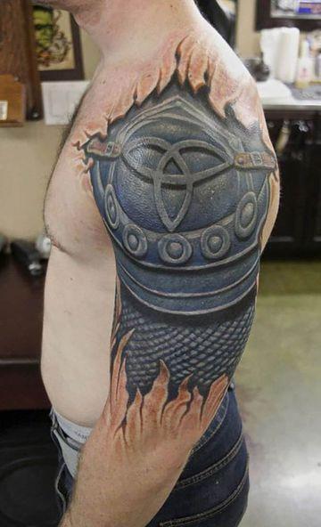 Grandiosos Tatuajes Para Hombres En El Hombro 3d Le Art