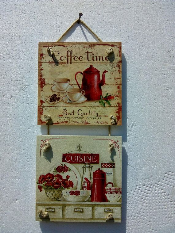 Home Decor Vintage Wall Decoupage Hanging Coffee House Gift For Kitchen Handmade