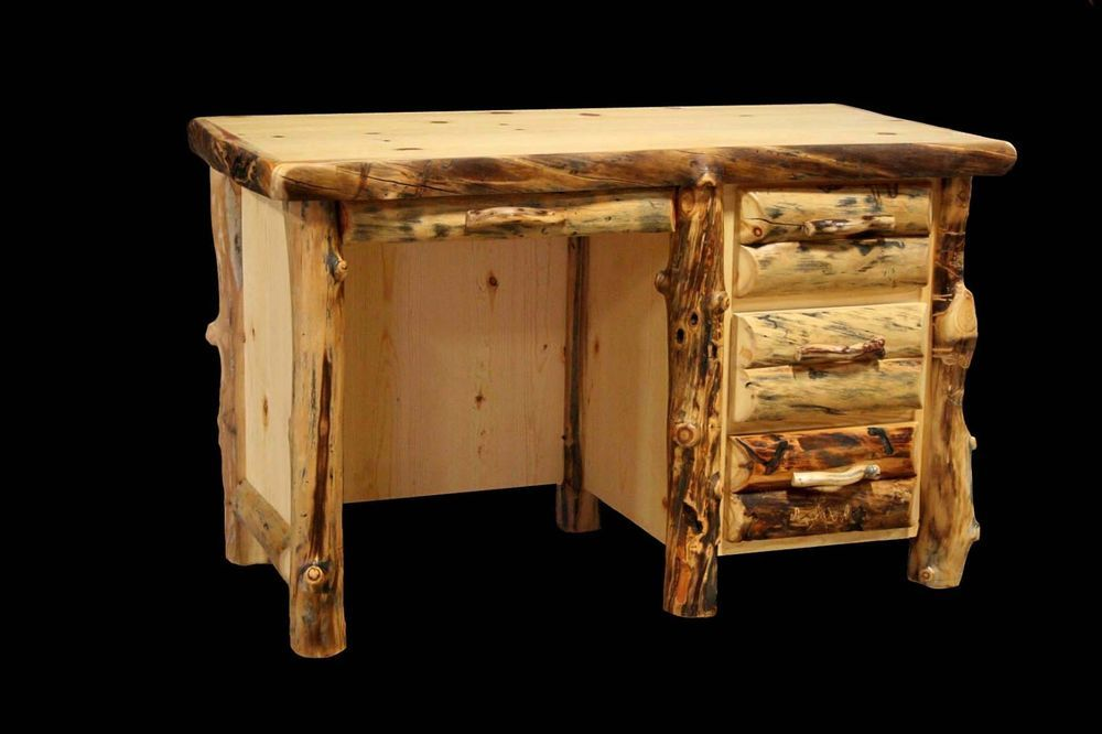 Incroyable Details About Rustic Log Student Desk With 3 Drawers   Western Country Wood  Furniture Decor