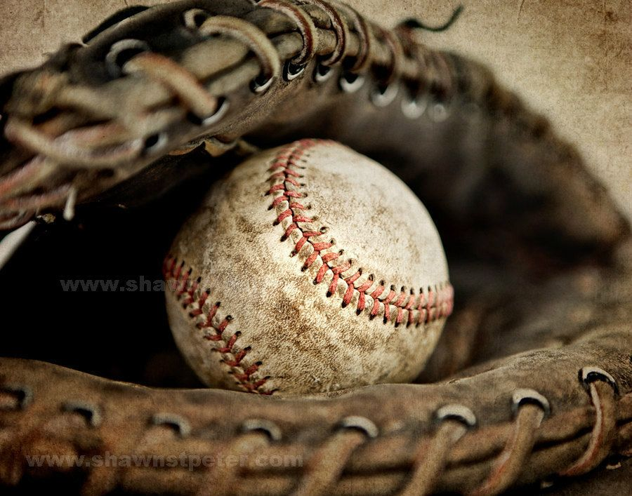 Vintage Baseball in Catchers Mit Photo Print,Decorating Ideas, Wall ...