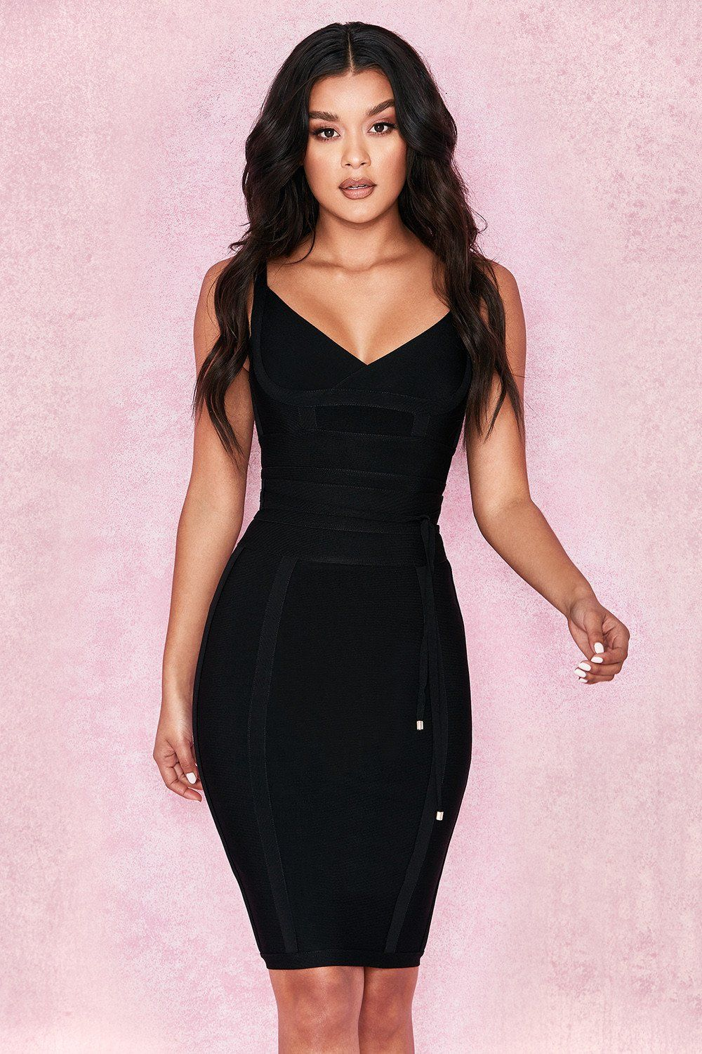 a87eed1717d250 Bring the flair this season in this figure-shaping bodycon midi dress. Cut  from thick, stretchy bandage material, the Cara dress is designed to hug  your ...