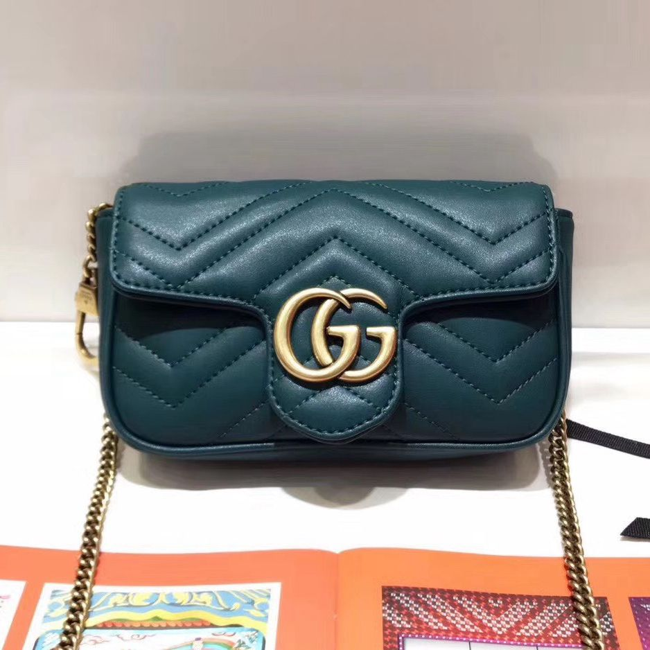 299e93bcf Gucci GG Marmont Matelassé Chevron Super Mini Chain Shoulder Bag 476433  Green 2017