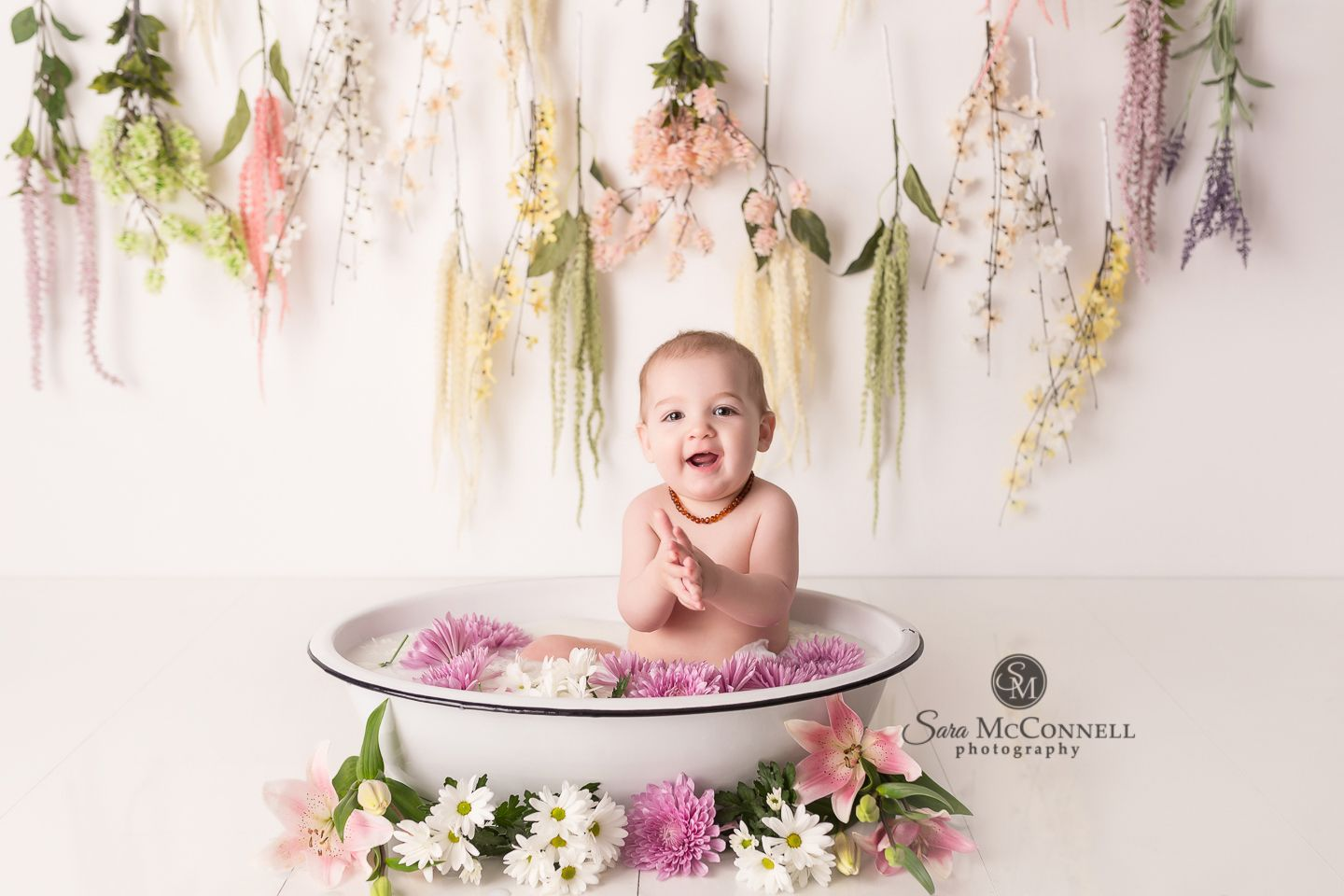 Love the idea of flowers around the base! Ottawa Baby Photographer | Milk Bath Sessions #milkbath