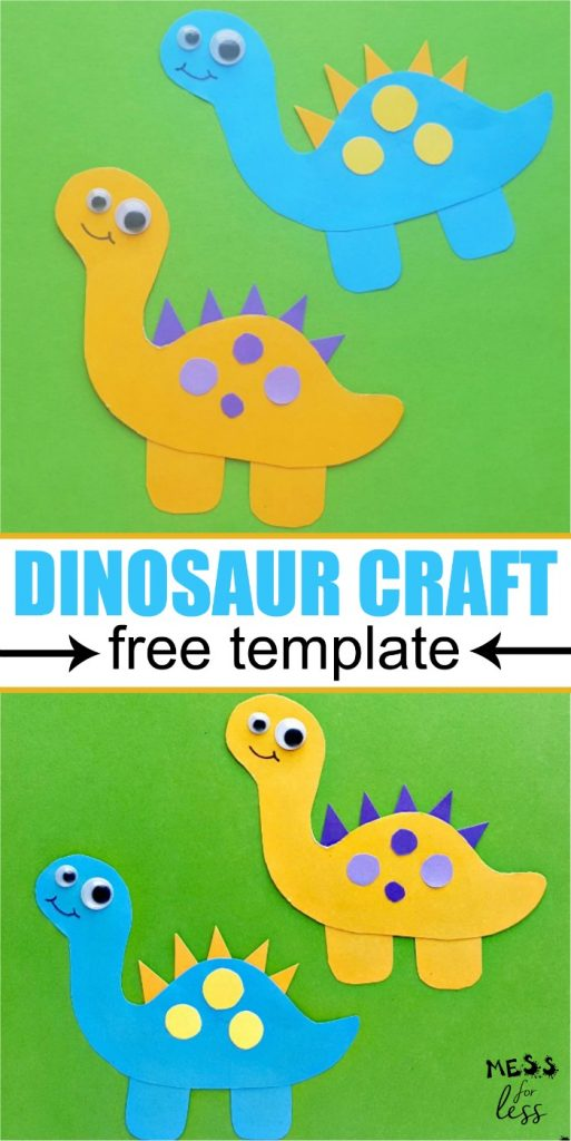 This dinosaur craft for kids is easy to make using the free template. Perfect for your little dino lover! #dinosauractivity #kidsactivities #animalcraftsforkids