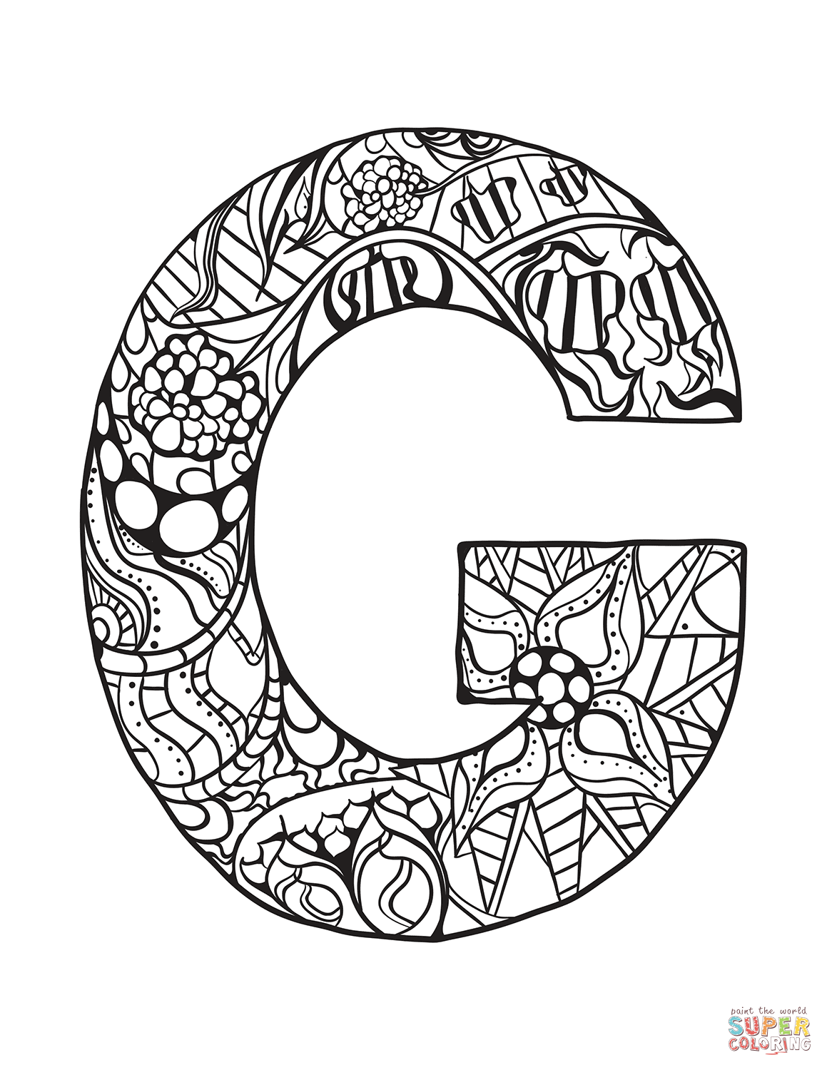 Letter G Zentangle Coloring Page