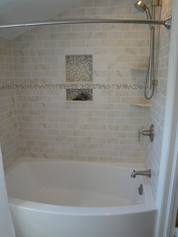 Bathtub tile surround on pinterest tile tub surround bathtub tile and small tile shower - Tile shower surround ideas ...