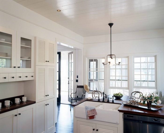 image result for white louvered kitchen cabinet doors
