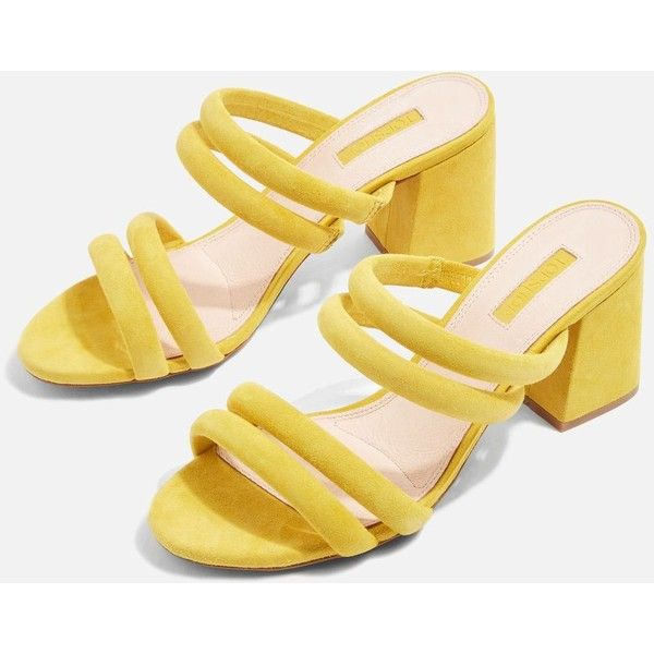 Topshop Nicky Tubular Mules (210 PEN) ❤ liked on Polyvore featuring shoes,  yellow, strappy shoes, topshop mules, high heel mules, yellow high heel …