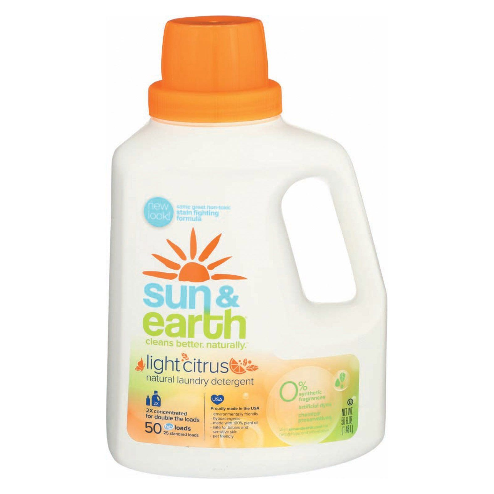 Sun And Earth Natural Laundry Detergent Light Citrus 50 Oz
