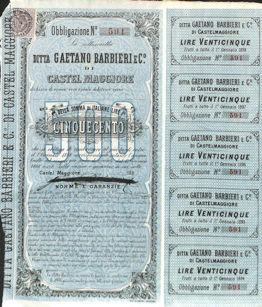 DITTA GAETANO BARBIERI E CO. DI CASTEL MAGGIORE - #scripomarket #scriposigns #scripofilia #scripophily #finanza #finance #collezionismo #collectibles #arte #art #scripoart #scripoarte #borsa #stock #azioni #bonds #obbligazioni