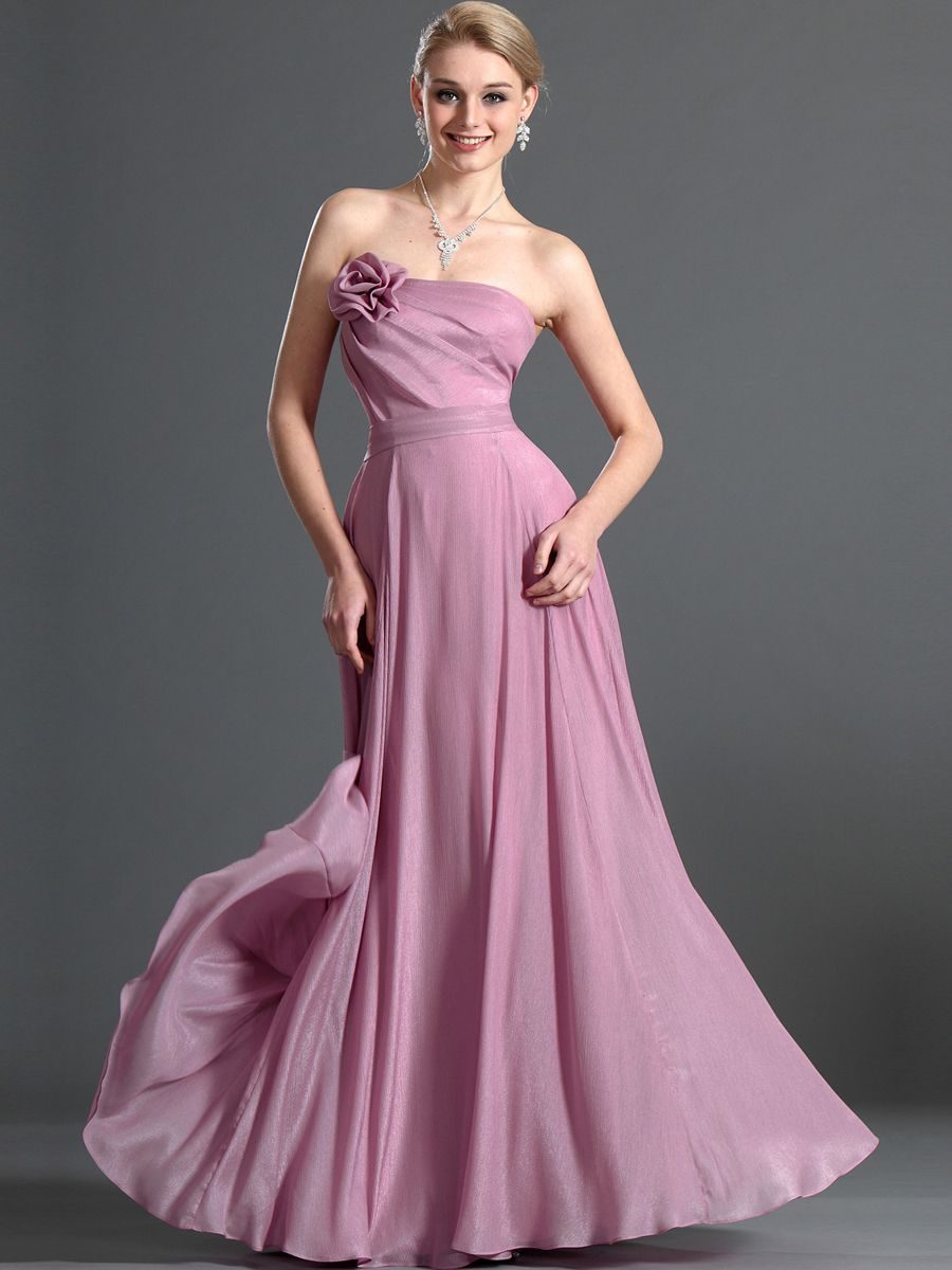 Goddess Style Floral Detailed Strapless A Line Long Chiffon Prom