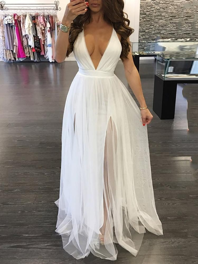 14c9fac0f Sexy Pleated Mesh Patchwork Deep V Neck Slip Maxi Dress
