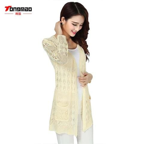 54928899bc3b TONGMAO 2018 Ladies Crochet Tops Fashion Women Beach Cardigan Spring Summer  Hollow Out Knitted Sweaters Size Rebecas Mujer