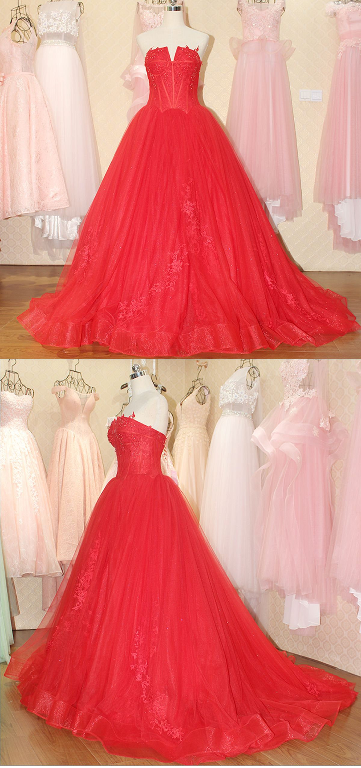 Beautiful red tulle prom dress tull prom dresses pinterest