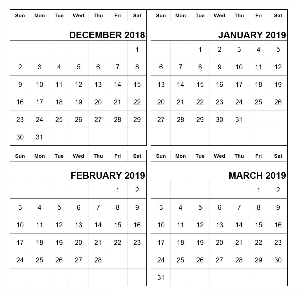December 2018 January February March 2019 Calendar Printable 555