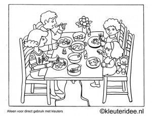 Kleurplaat Diner Kleuteridee Preschool Coloring Dinner