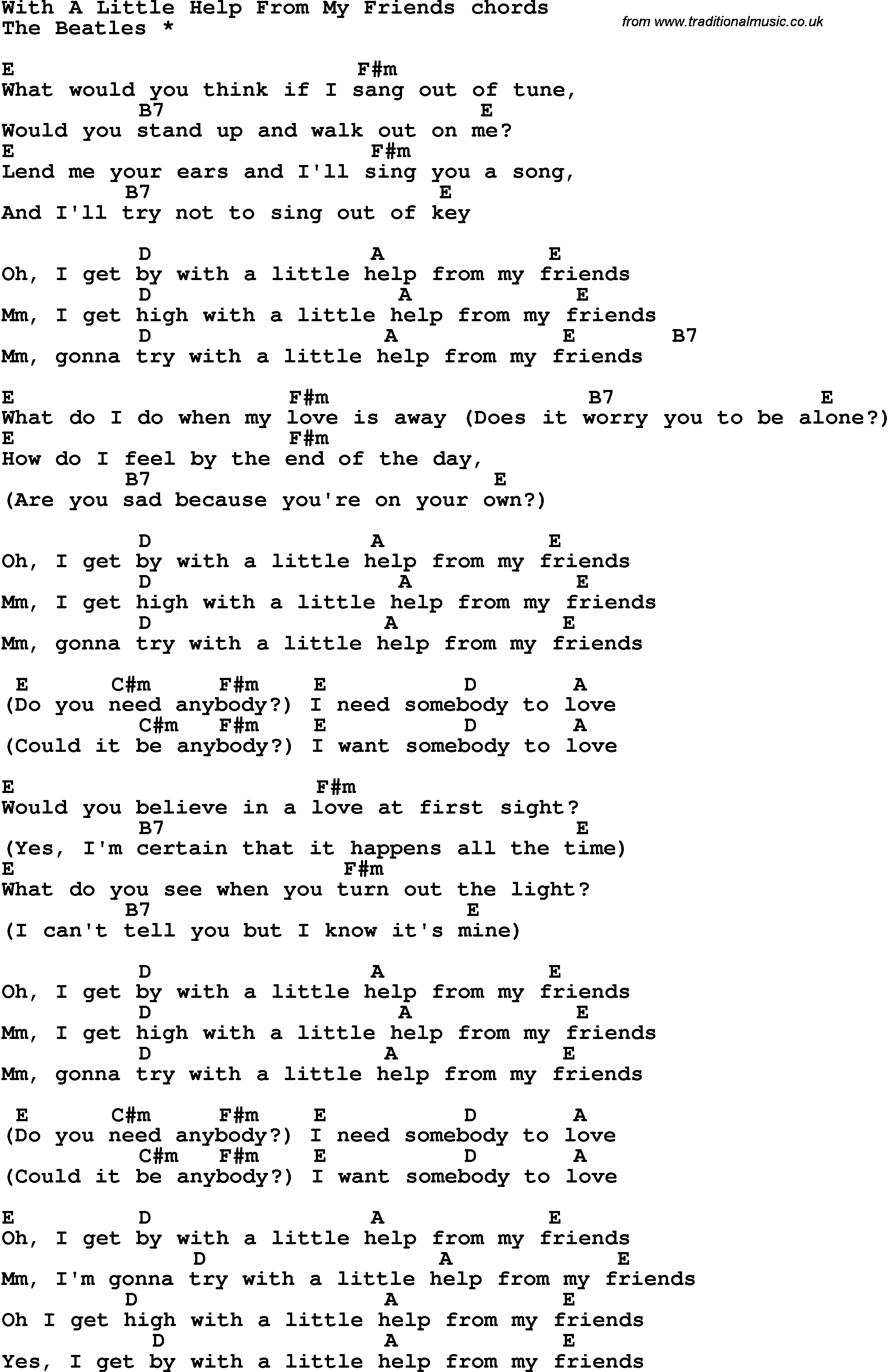 Song lyrics with guitar chords for with a little help from my song lyrics with guitar chords for with a little help from my friends hexwebz Images