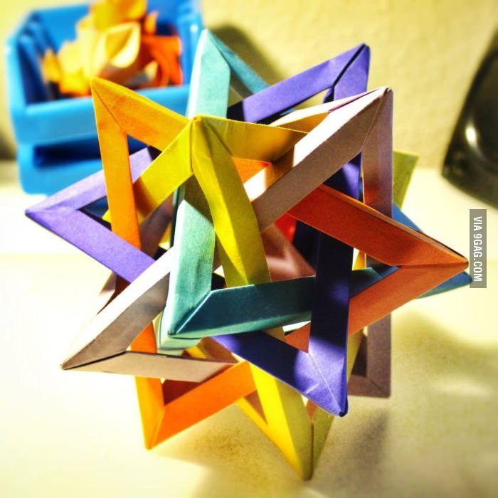 Origami Five intersecting tetrahedra