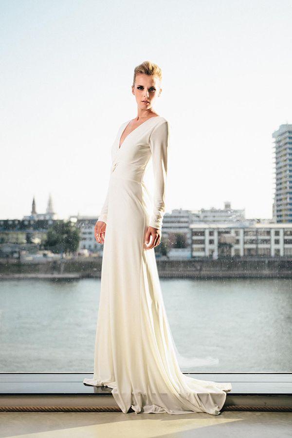 Hochzeitskleider Langarm Schlicht