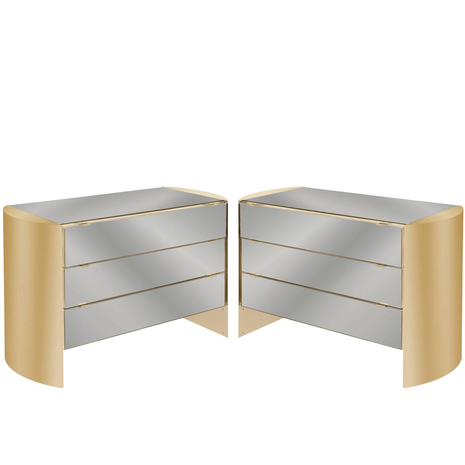 Pair Of Chic Bedside Tables In Brass And Smoke Mirror