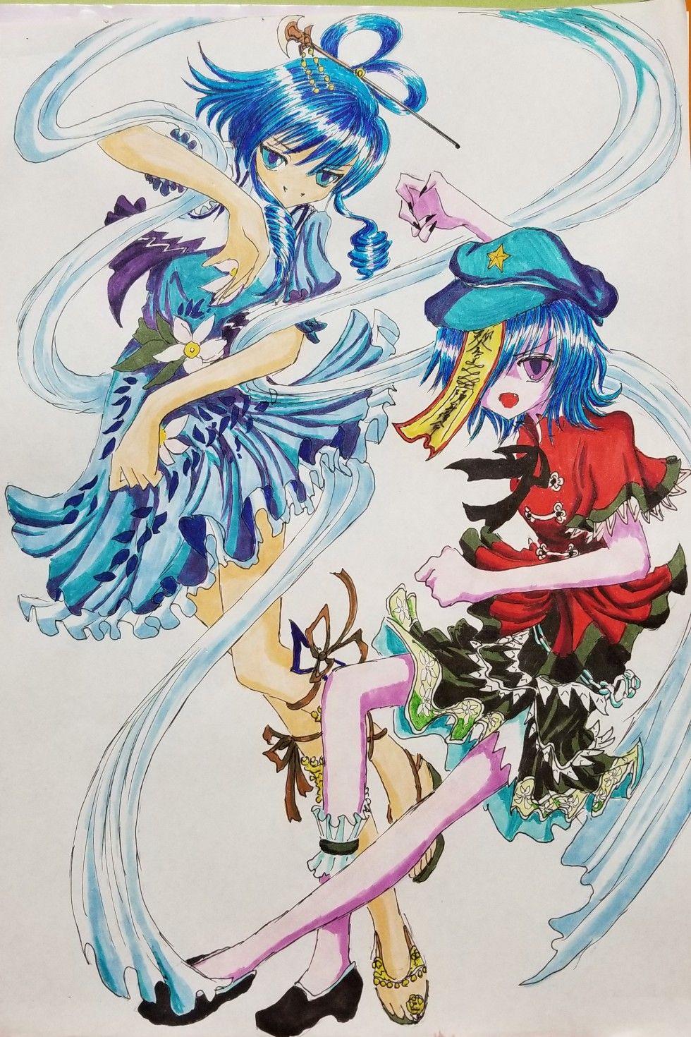 東方神霊廟キャラ 霍青娥と宮古芳香を描きました anime art tutorial anime art art tutorials