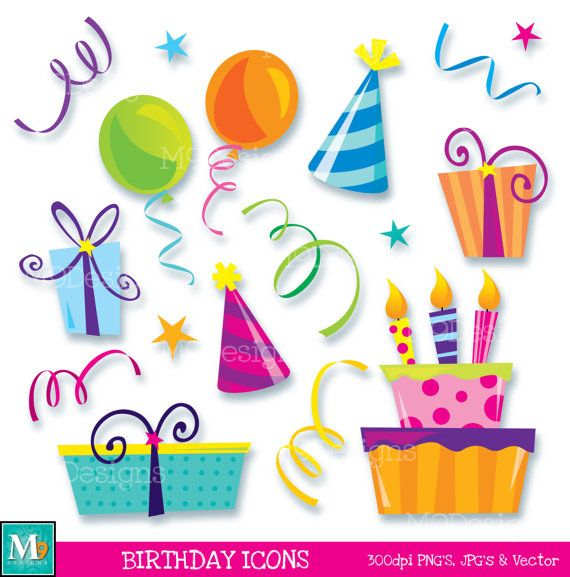 Happy Birthday Icons Clipart Illustrations Instant Download Fun