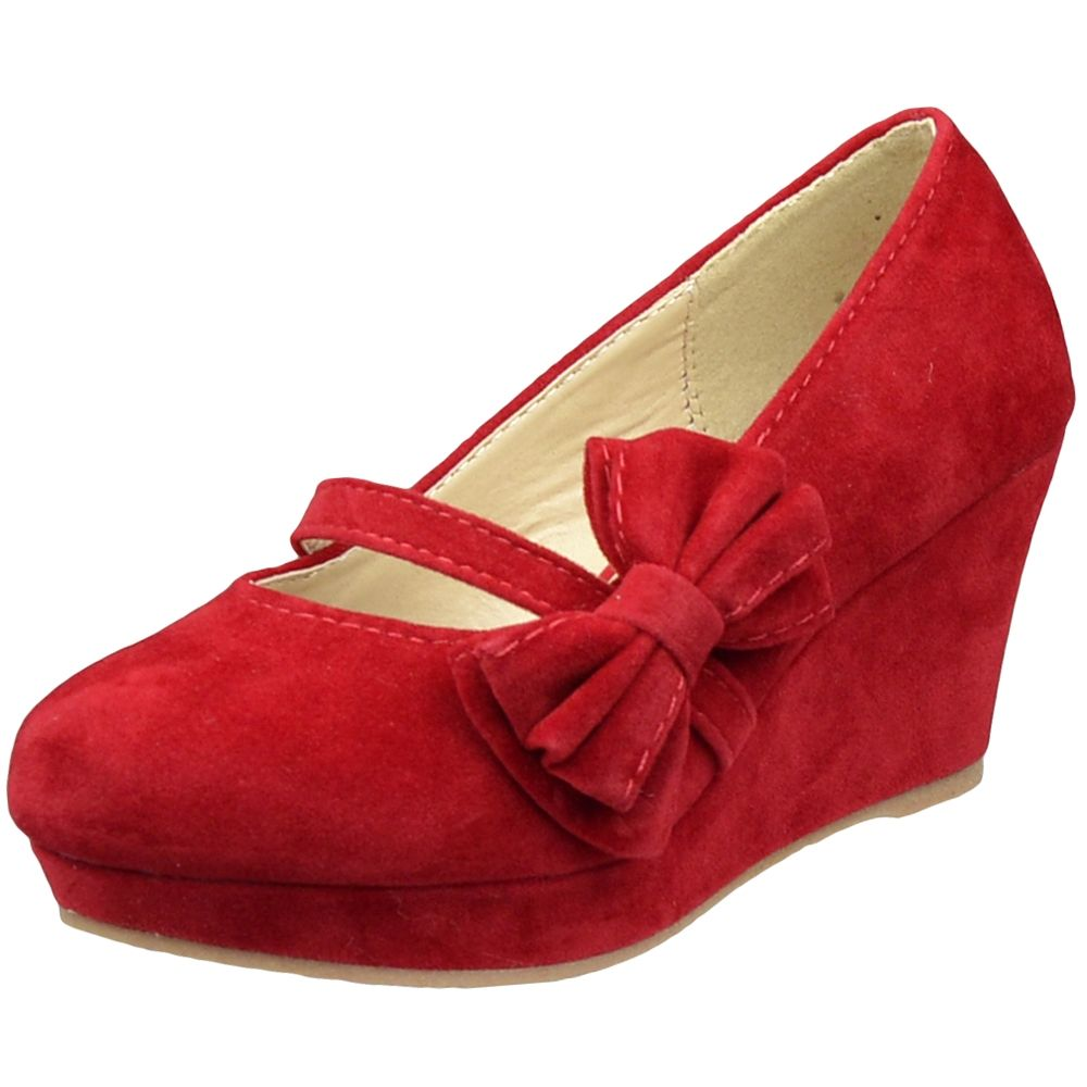 Kids Dress Shoes Platform Wedge Bow Accent Closed Toe Pumps Red ...