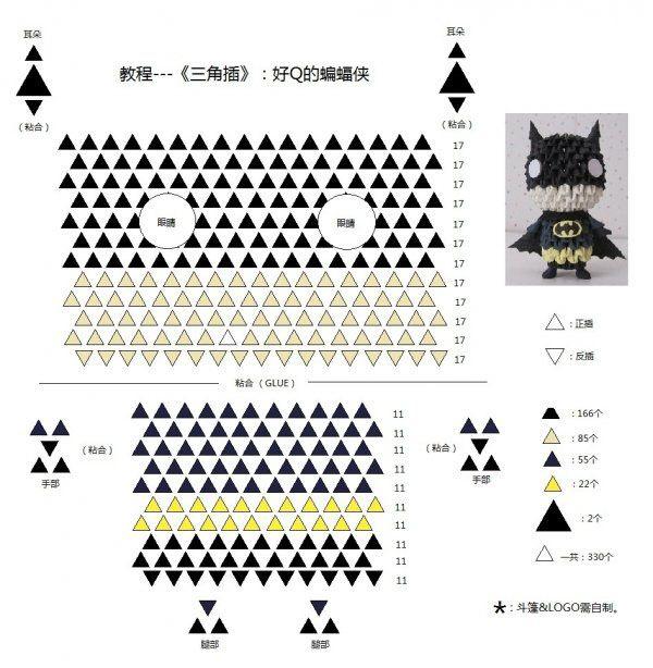 3d origami batman 3d origami batman pinterest 3d