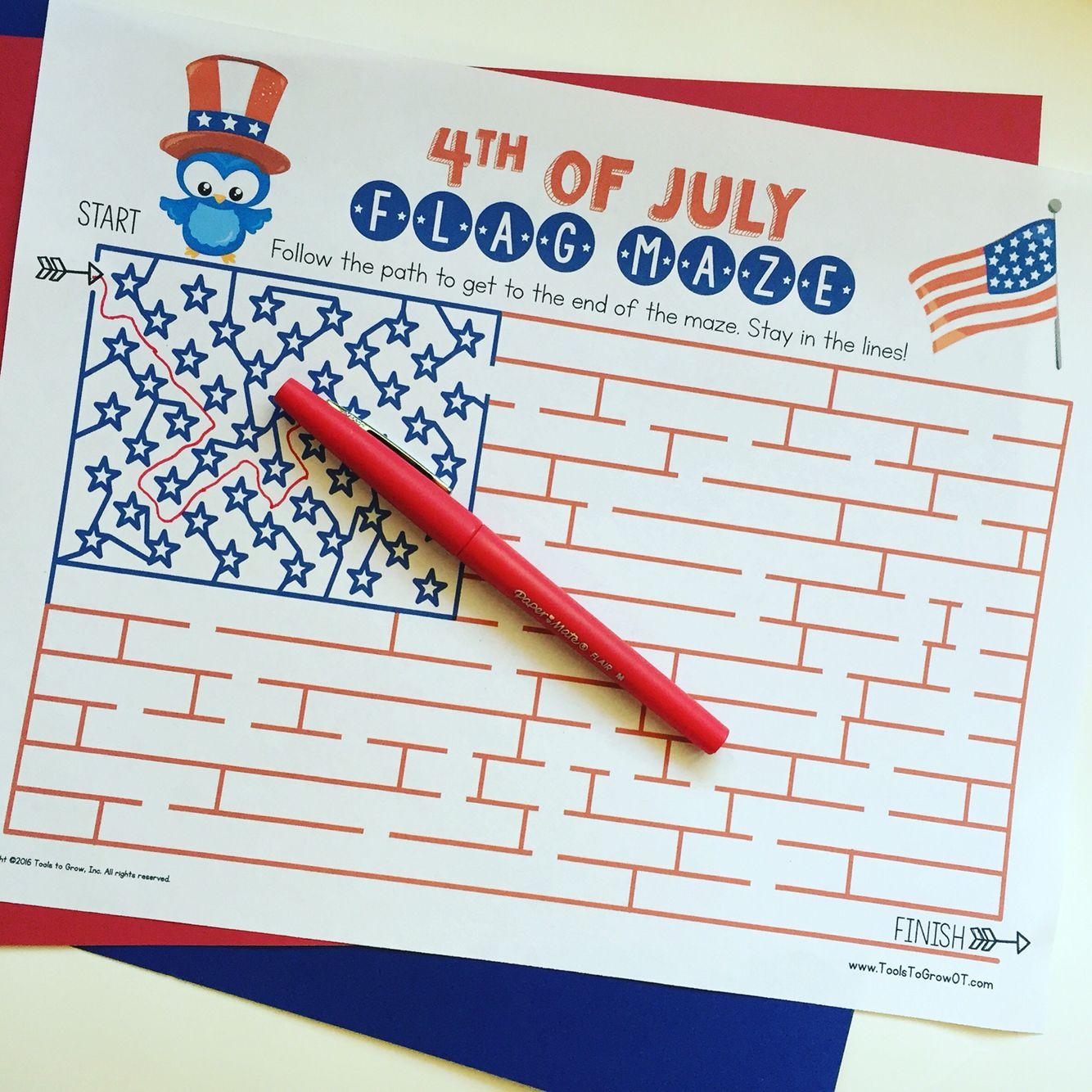 New Freebie 4th Of July Flag Maze