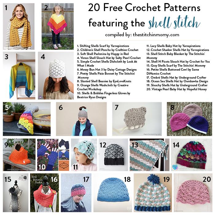 20 Free Shell Stitch Crochet Patterns | Fabulous Roundups | Pinterest