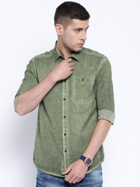 Buy Premium By Jack & Jones Olive Green Slim Fit Casual Shirt ...
