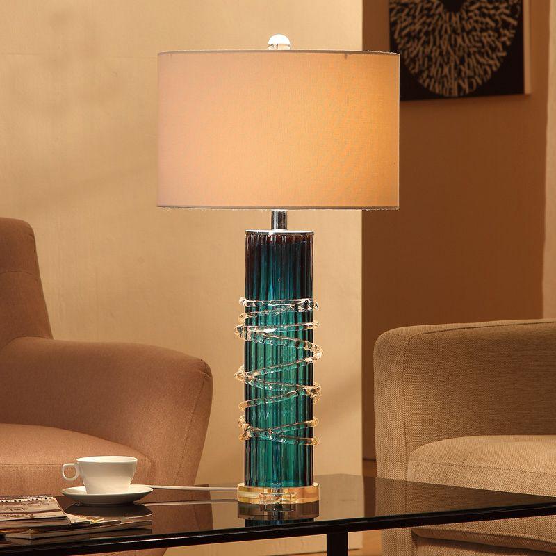 Blue Glass Crystal Base Desk Lamp Table Lighting Luminaria De Mesa
