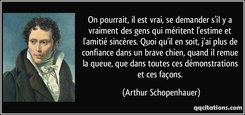 On pourrait, il est vrai, se demander s'il y a vraiment des gens qui méritent l'estime et l'amitié sincères. Quoi qu'il en soit, j'ai plus de confiance dans un brave chien, quand il remue la queue, que dans toutes ces démonstrations et ces façons. (Arthur Schopenhauer) #citations #ArthurSchopenhauer