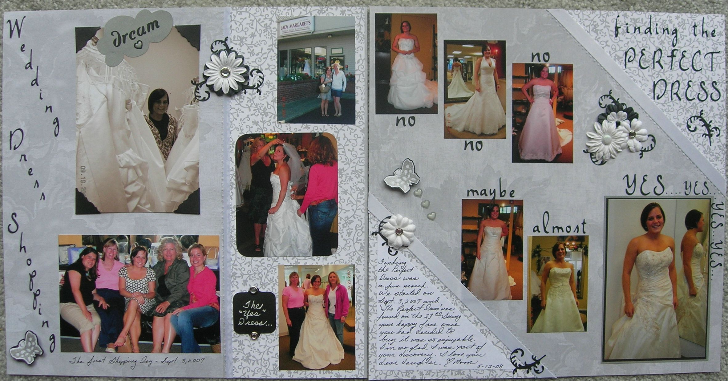 Wedding Dress Shopping Laouts Scrapbook Com Wedding Scrapbook Pages Wedding Scrapbooking Layouts Wedding Dress Shopping