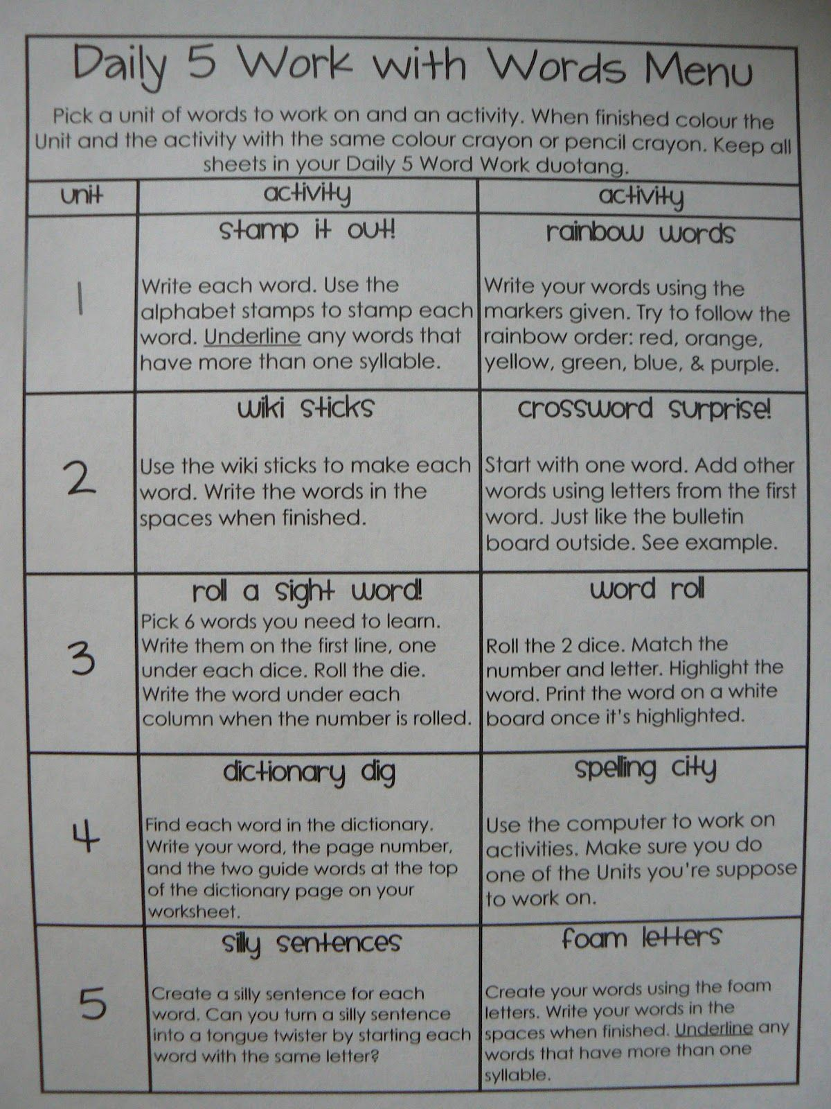 Word Works Menu Would Like To Adapt For Our Menu That