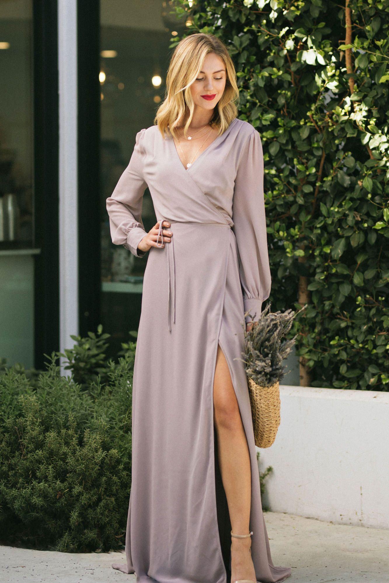 Chloe Long Sleeve Wrap Maxi Dress Mauve Large In 2021 Maxi Wrap Dress Cute Maxi Dress Long Sleeve Bridesmaid Dress [ 1999 x 1333 Pixel ]